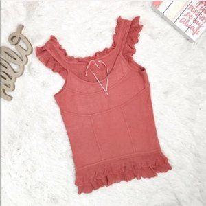Urchin Silk Linen Ruffle Knit Blouse Coral Medium